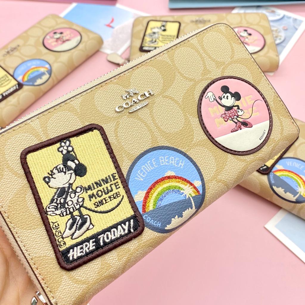 VÍ C🅾️ach X Disney Minnie Mouse Patches Signature Logo Accordion Zip