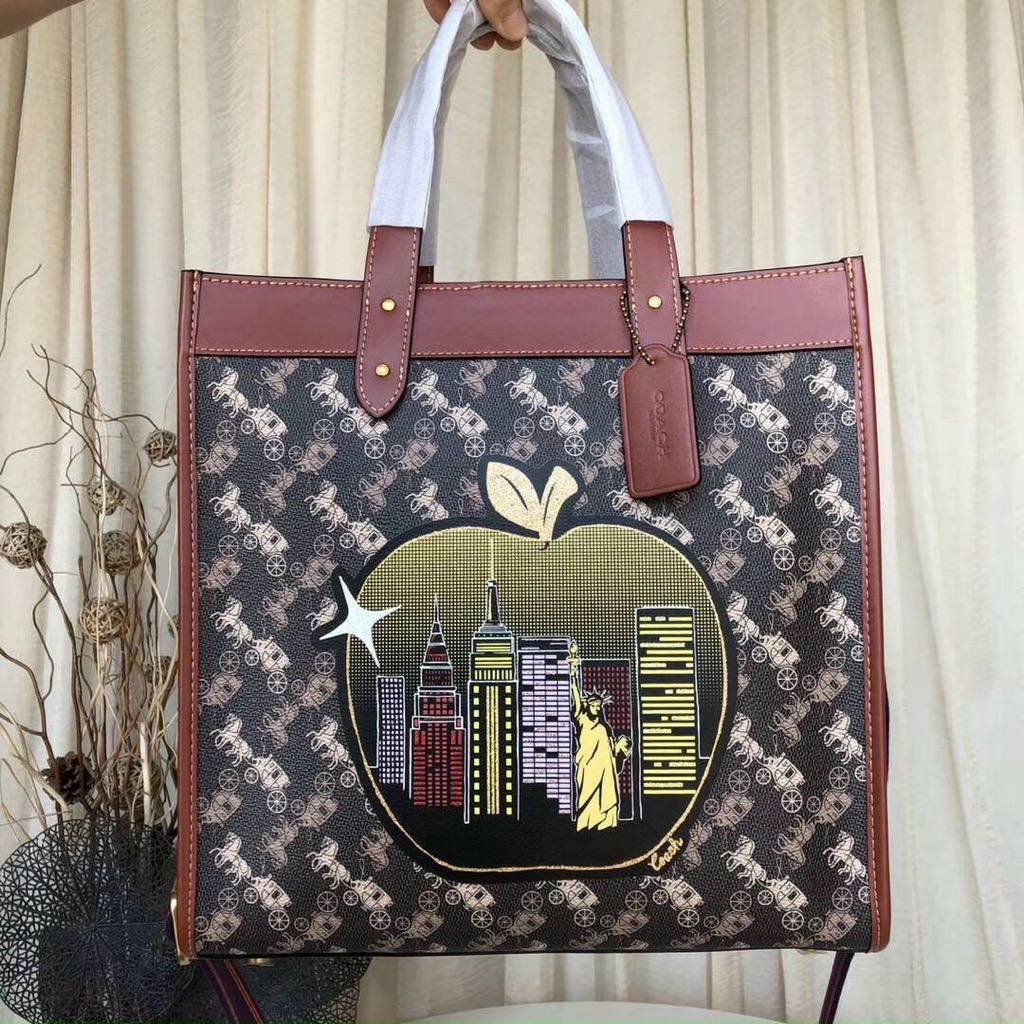 Túi Tote Co🅰️ch Field In Signature Canvas With Big Apple Skyline