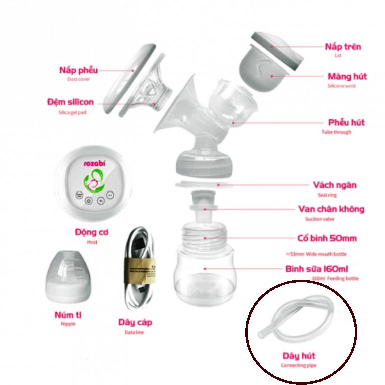 Dây ống hút dẫn khí phụ kiện cho máy hút sữa điện điện Rozabi (không đầu nối)