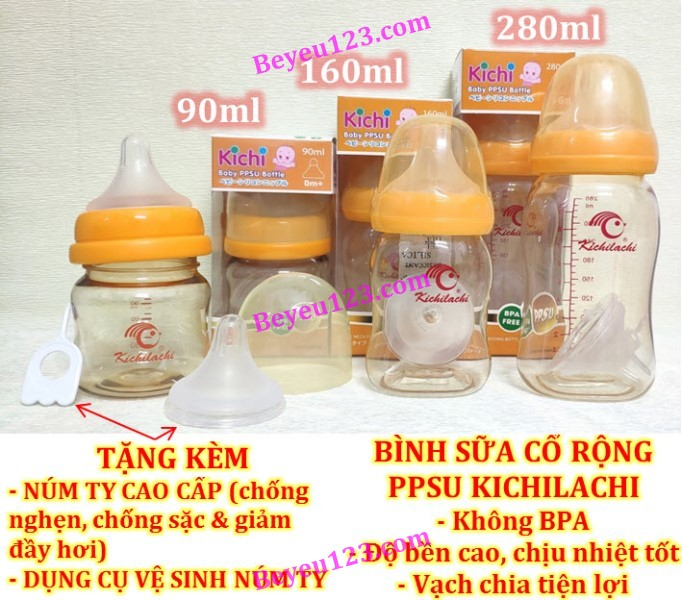 90ml/160ml/280ml - Bình sữa cổ rộng PPSU cao cấp KICHILACHI (Công nghệ Nhật)