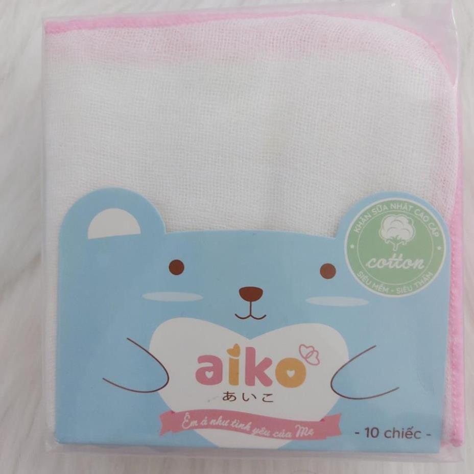 Set 10 Khăn sữa xuất nhật 4 lớp Aiko cho bé - Khăn xô - 27X25cm