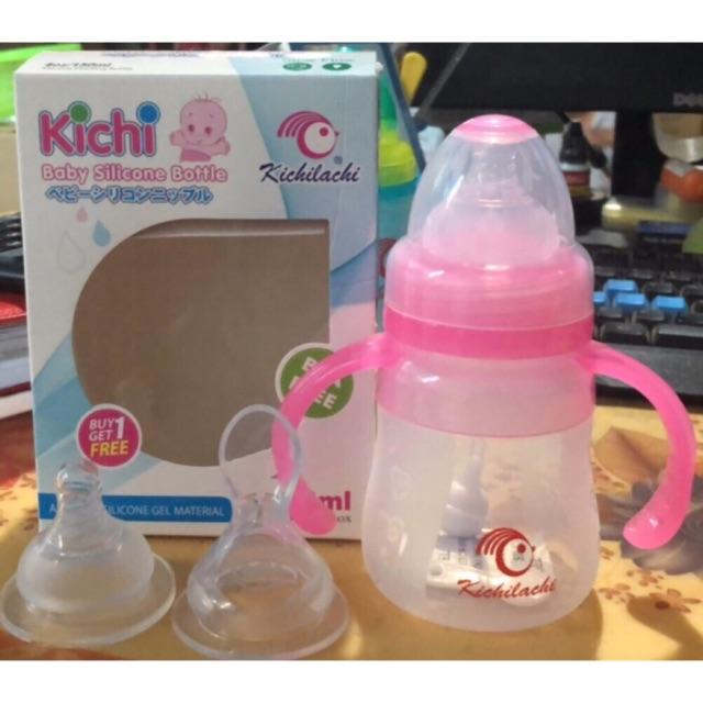 Bình sữa silicone kèm đầu thìa đút sữa-ăn bột cho bé Kichilachi
