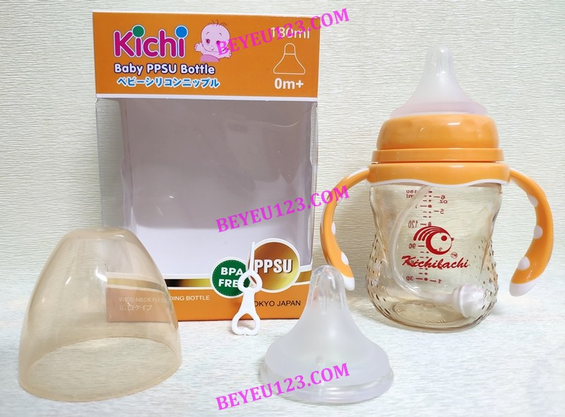 180ML/240ML - Bình sữa PPSU cao cấp Kichilachi có tay cầm kèm van chống săc - tặng kèm núm ti thay thế