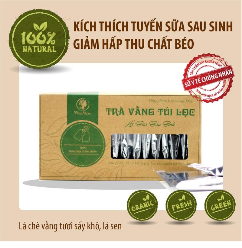 (20 túi) Trà vằng túi lọc lợi sữa Wonmom cho Mẹ sau sinh, giảm mỡ bụng 100% thiên nhiên 40gram (Việt Nam)