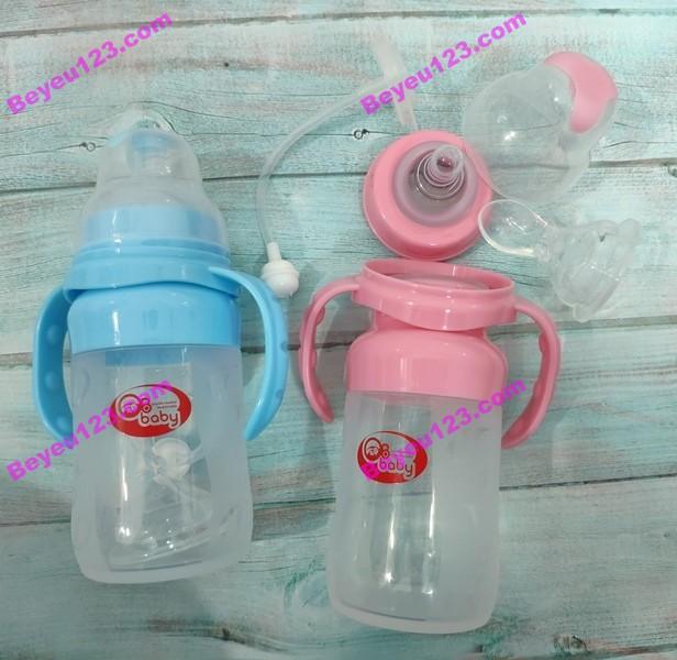 Bình sữa silicone cao cấp có tay cầm GB BABY 220ML (Công nghệ Hàn Quốc) - [Tặng 01 núm ti và 01 đầu thìa]