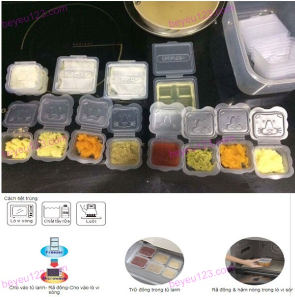 Bộ 8 hộp chia thức ăn dặm 100ml hình thú Richell Nhật