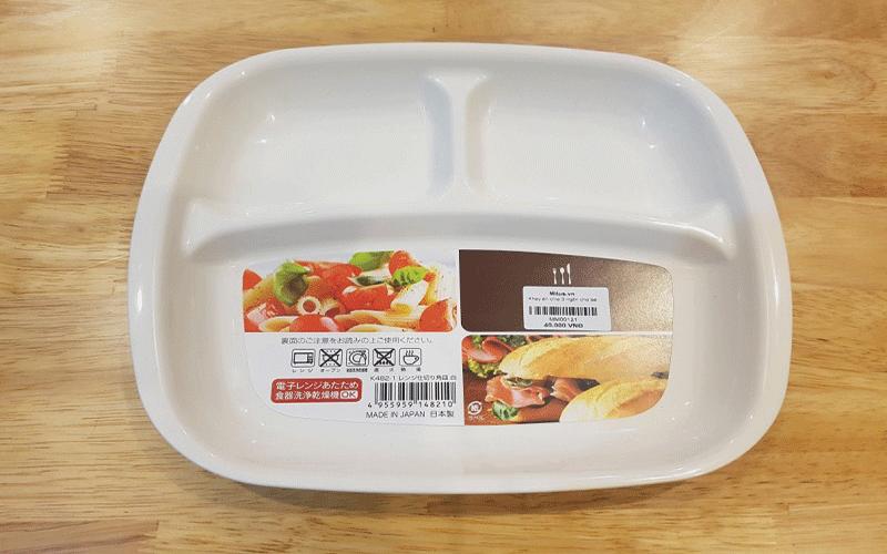 Khay ăn dặm vuông BLW chia 3 ngăn cho bé Nakaya  - Made in Japan - KBN 148210
