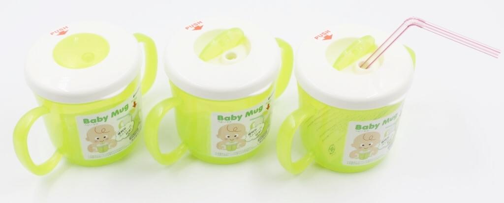 Combo Set 150 ống hút nước và Cốc tập uống có tay cầm 210ml Inomata - Made in Japan - KBN 111818 / 392359