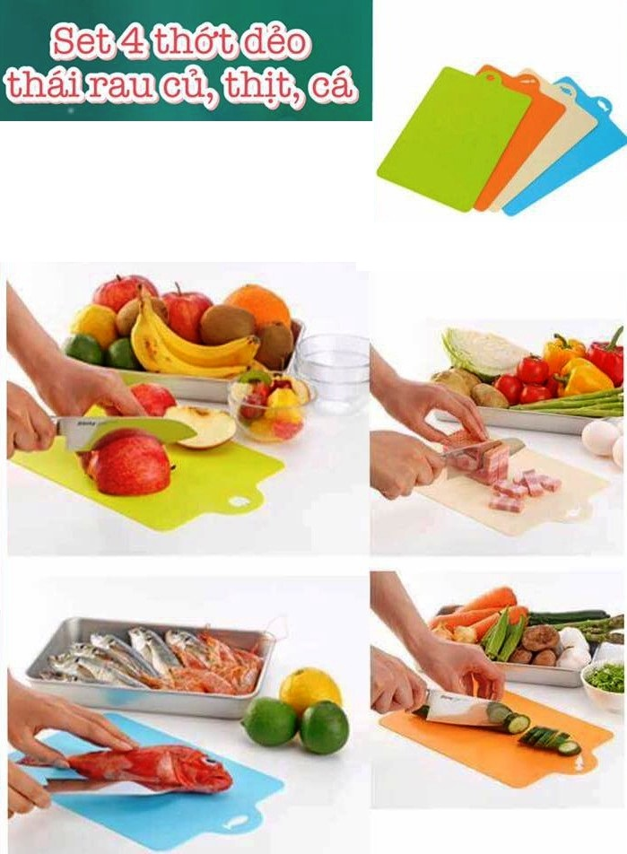 Tách vỉ - 1 Thớt Nhựa Dẻo Chế Biến Ăn Dặm Inomata - thái rau củ , thịt, cá, trái cây - Made in Japan - KBN 07906
