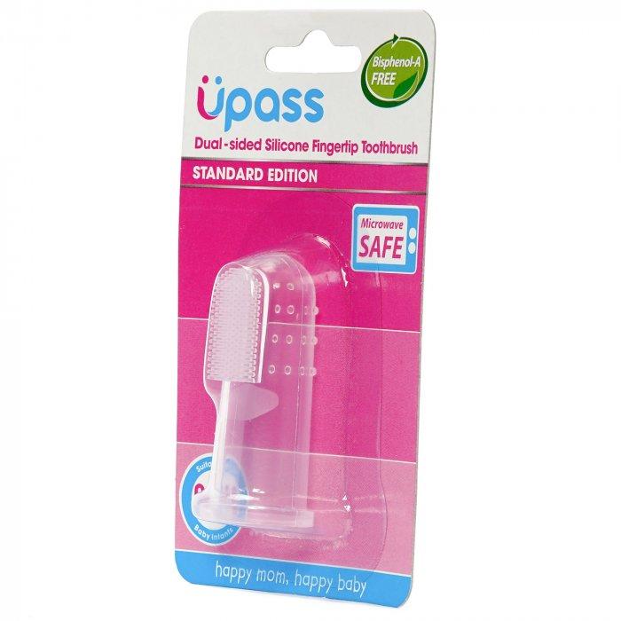 1 cái - Bàn chải silicone mềm 2 mặt xỏ ngón rơ lưỡi, nướu, đánh răng cho bé Upass Thái Lan - UP4001W