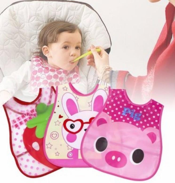 Yếm ăn dặm silicone mềm chống thấm có máng hứng cho bé