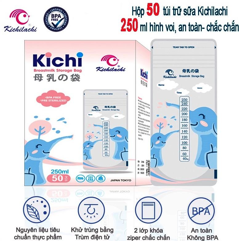 (Mẫu mới) Hộp 50 túi trữ sữa mẹ 250ml Hình Voi Kichilachi K50 - Nhật