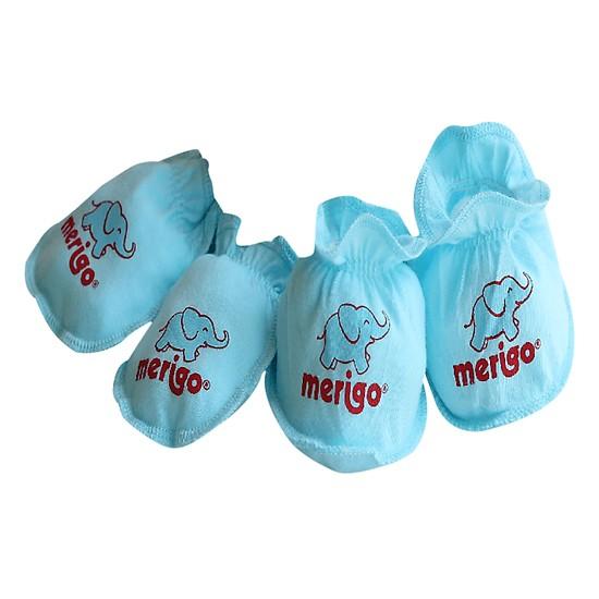 Bộ bao tay, bao chân cho bé sơ sinh 100% cotton Merigo - Bông Bạch Tuyết
