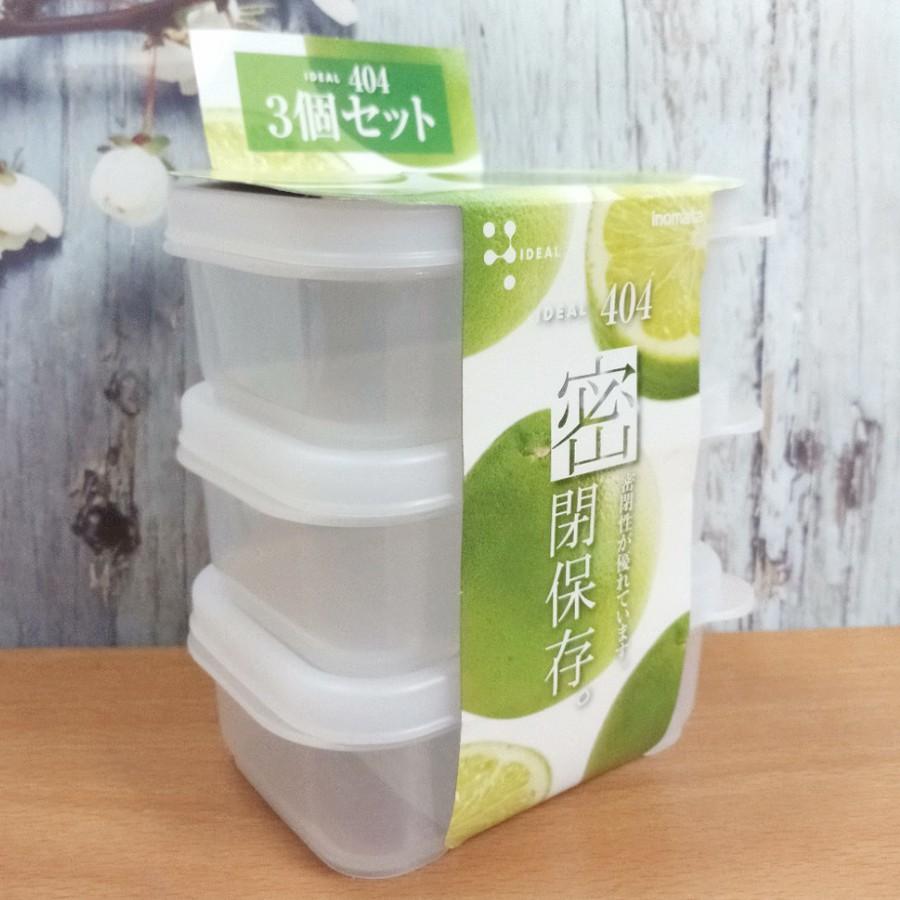 (Nhật) Set 3 Hộp trữ thức ăn dặm 190ml , trữ thực phẩm Inomata cho bé - Made in Japan - KBN 64487