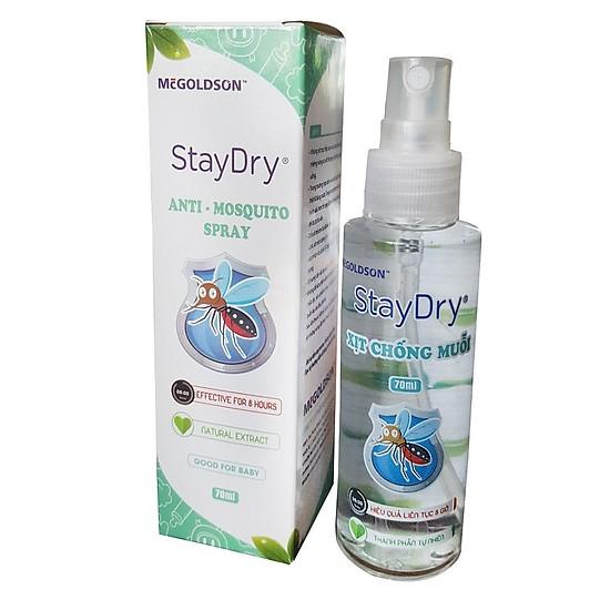 Chai xịt chống muỗi trẻ em StayDry 70ml - MCGOLDSON- Việt Nam