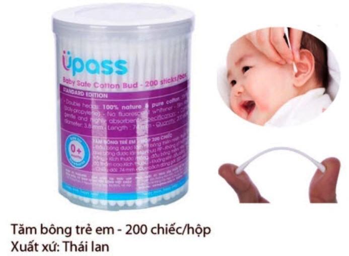 Hộp 200 cây tăm bông vệ sinh cho bé và gia đình UPASS (Thái Lan) -UP4102A