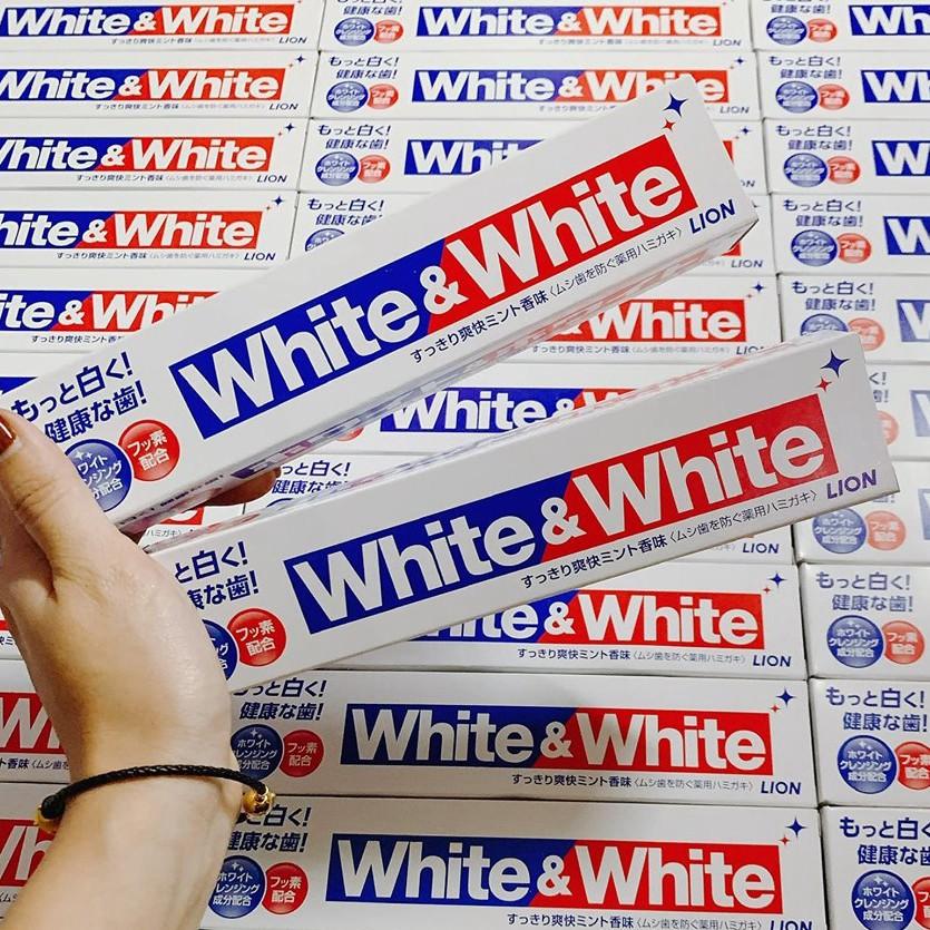 (Chính hãng) Kem Đánh Răng làm trắng răng White & White Lion 150g - Made in Japan
