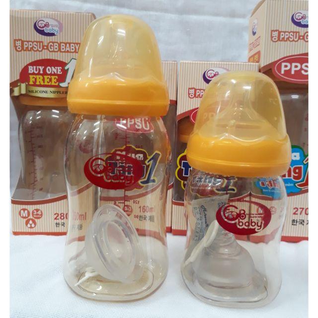 160ml/280ml - Bình sữa cổ rộng PPSU cao cấp GB BABY (Công nghệ Hàn Quốc)