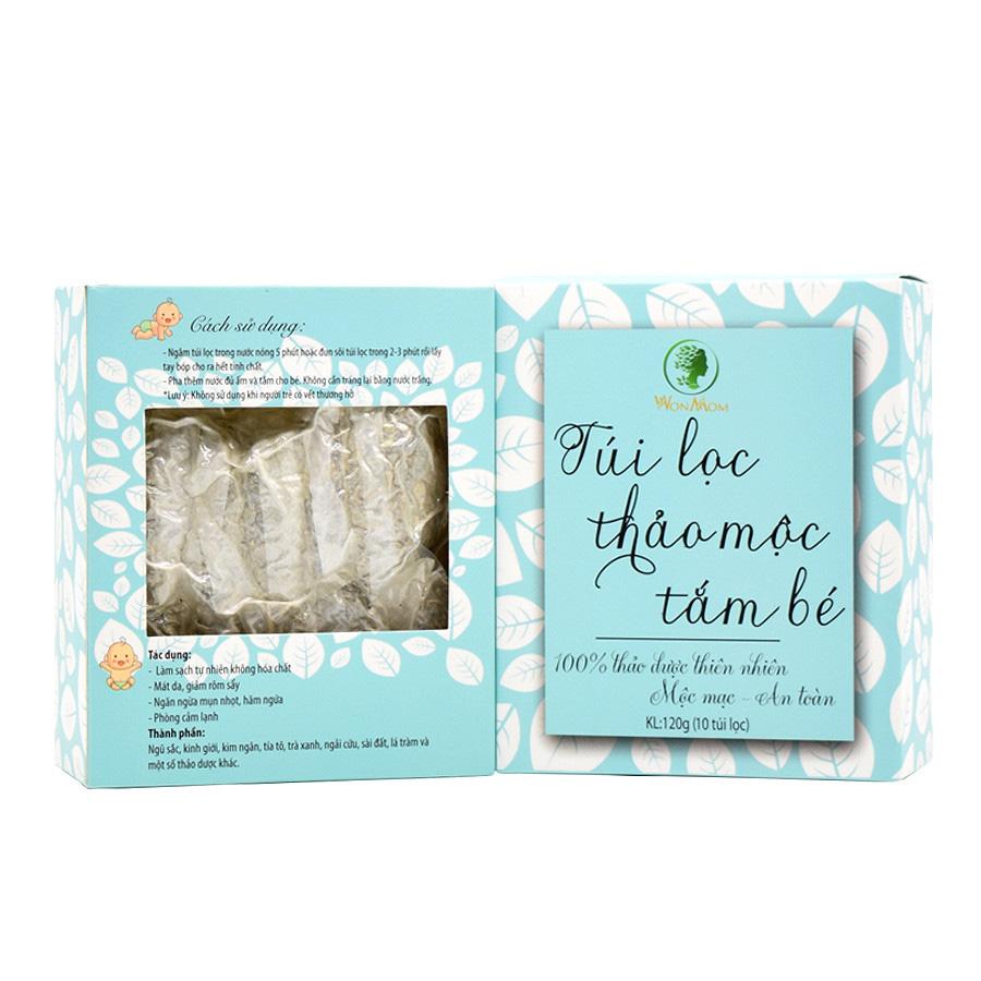 Hộp 10 túi lọc thảo dược tắm bé Wonmom ngăn ngừa hăm ngứa, giảm rôm sẩy cho bé 120g (Việt Nam)