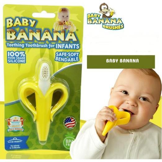 Gặm nướu chuối matxa silicone mềm an toàn cho bé Baby Banana - Mỹ