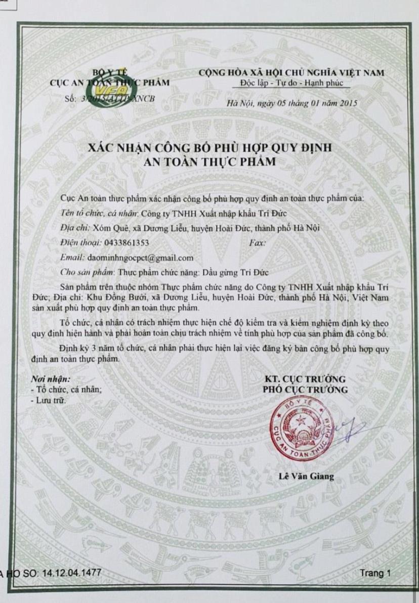 10ml - Tinh dầu gừng nguyên chất Trí Đức - Việt Nam