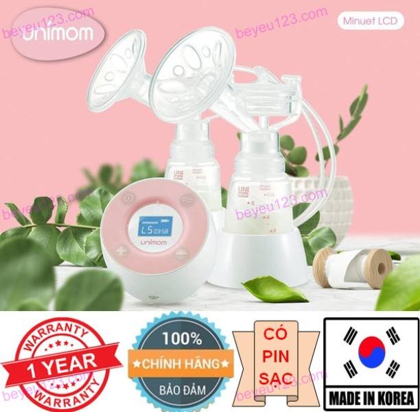 Máy hút sữa điện đôi cao cấp có pin sạc, màn hình LCD kèm adapter UNIMOM Minuet Hàn Quốc