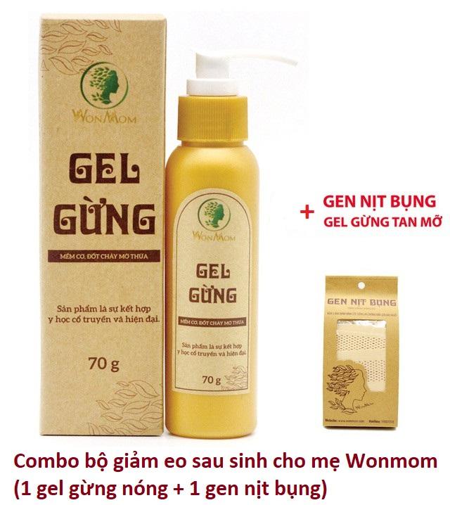 Combo bộ giảm eo sau sinh Wonmom cho mẹ (1 Gel gừng nóng + 1 Gen nịt bụng) Việt Nam