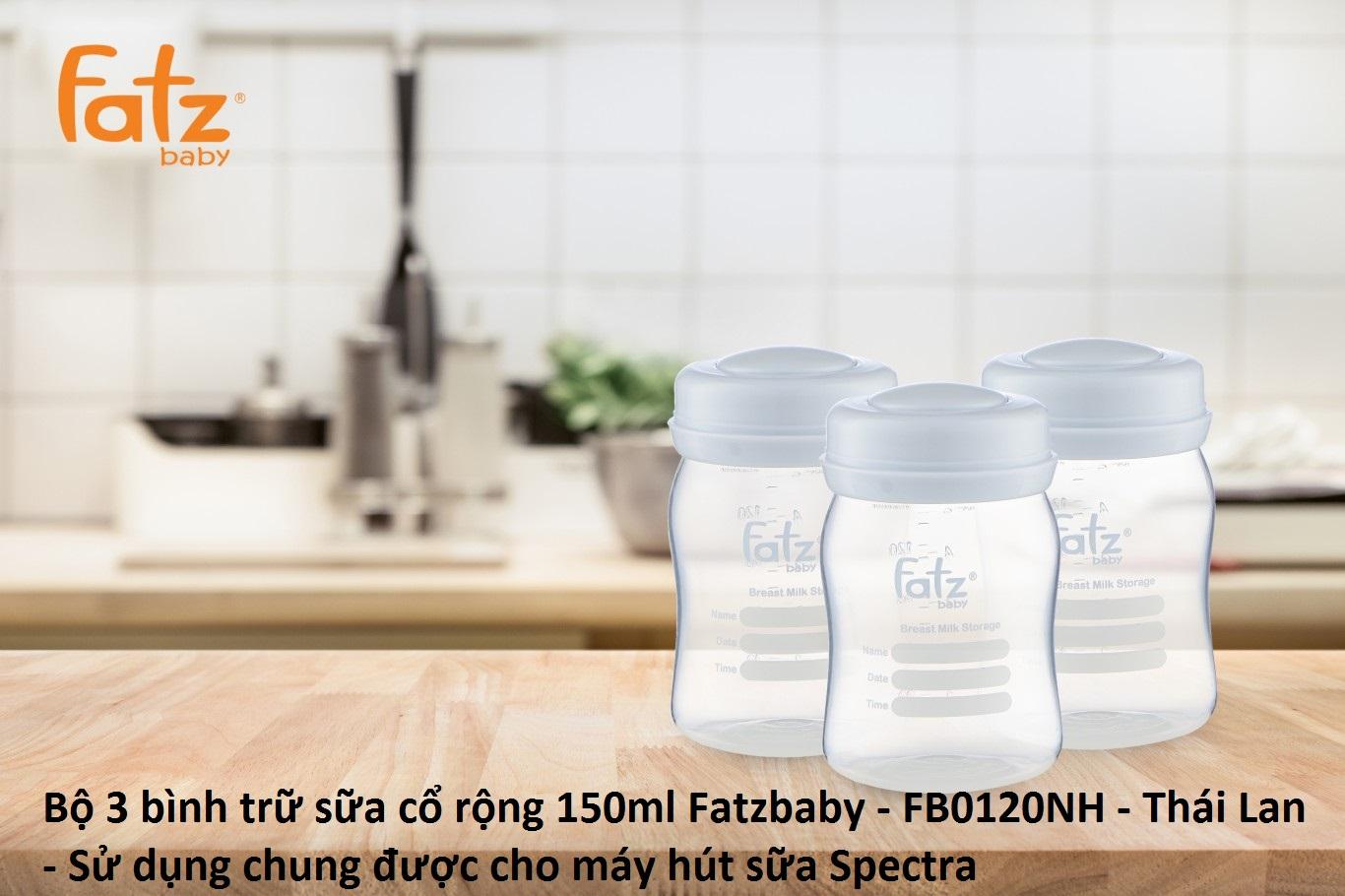 Bộ 3 bình trữ sữa cổ rộng 150ml Fatzbaby - FB0120N - Thái Lan