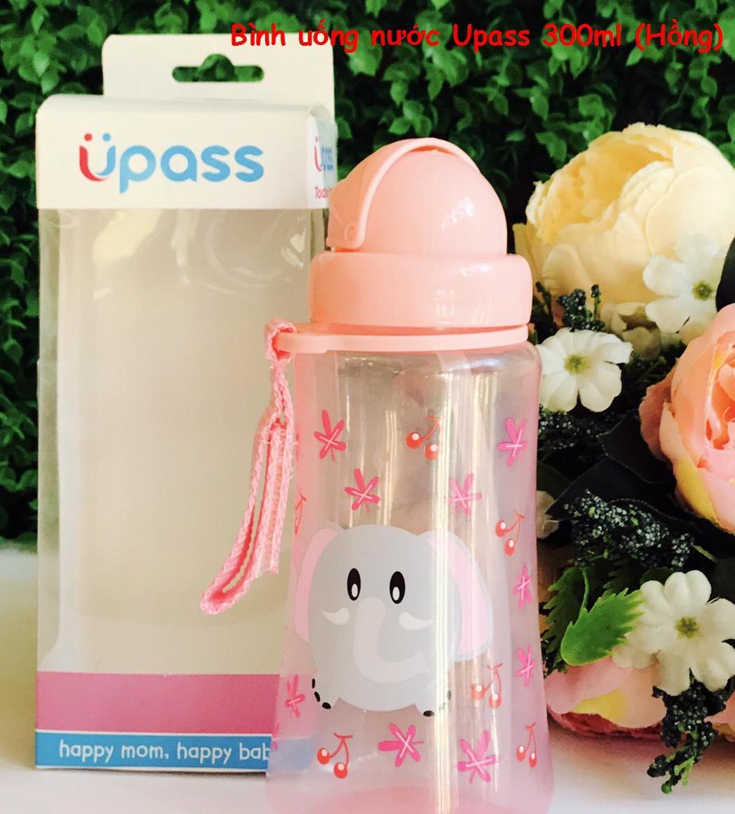 UPASS (Thái Lan) - Bình uống nước tập hút có ống hút silicone mềm cho bé 300ml Upass UP0090N