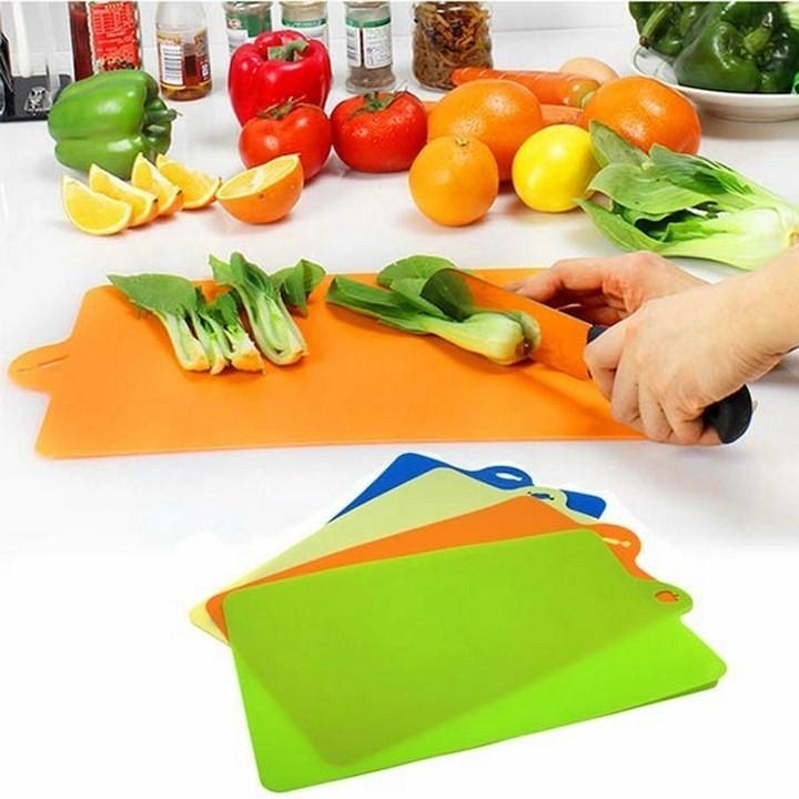 Set 4 Thớt nhựa dẻo Inomata - thái rau củ , thịt, cá, trái cây - Made in Japan - KBN 07906