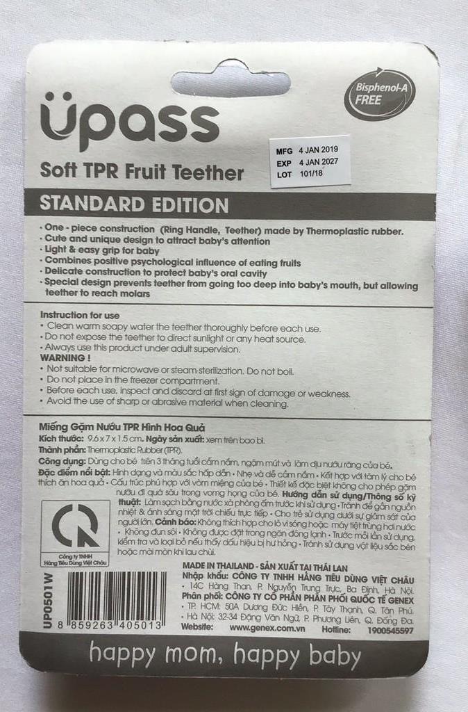 Gặm nướu TPR hình trái cây cho bé Upass - Thái Lan - UP0501W