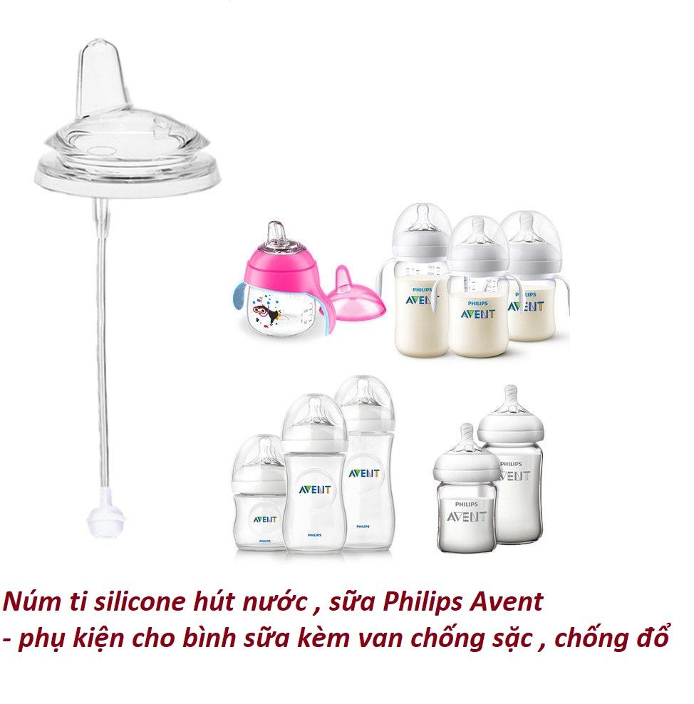 Núm ti silicone hút nước , sữa Philips Avent - phụ kiện cho bình sữa kèm van chống sặc , chống đổ