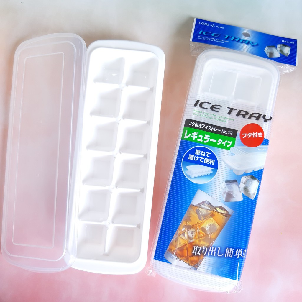 Khay đá 12 viên có nắp đậy / trữ thức ăn dặm cho bé Inomata - Made in Japan - Nhật KBN 503064