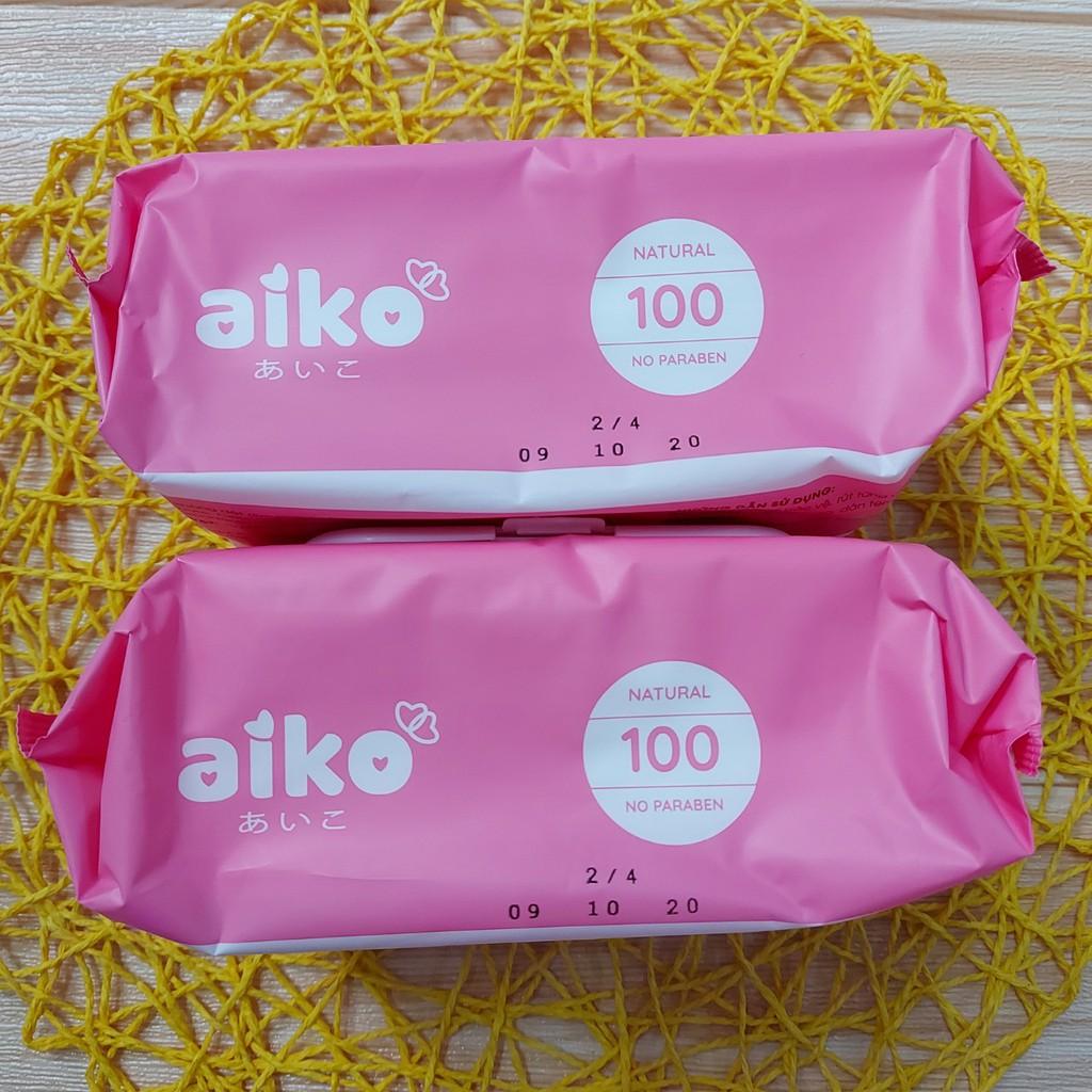 Khăn Ướt cho Bé Aiko 100 Tờ Không Mùi - Bao bì màu Hồng - Việt Nam