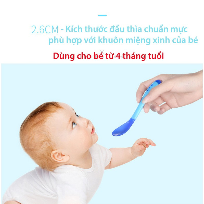 Muỗng / Thìa ăn dặm cảm ứng nhiệt an toàn miệng cho bé