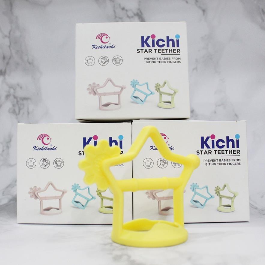 Gặm Nướu silicone mềm hình ngôi sao Kichilachi xỏ đeo tay chống rơi cho Bé