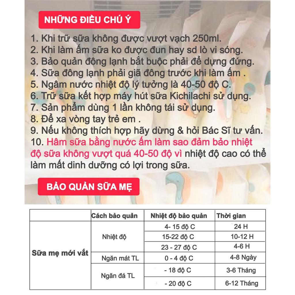 Hộp 32 túi trữ sữa Mẹ 200ml hình con Heo có vòi rót Kichilachi - K32V (Công Nghệ Nhật)