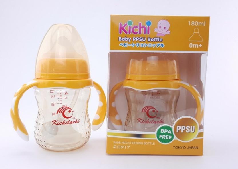 Bình sữa nhựa PPSU 180ml cao cấp Kichilachi - tặng kèm núm ti thay thế