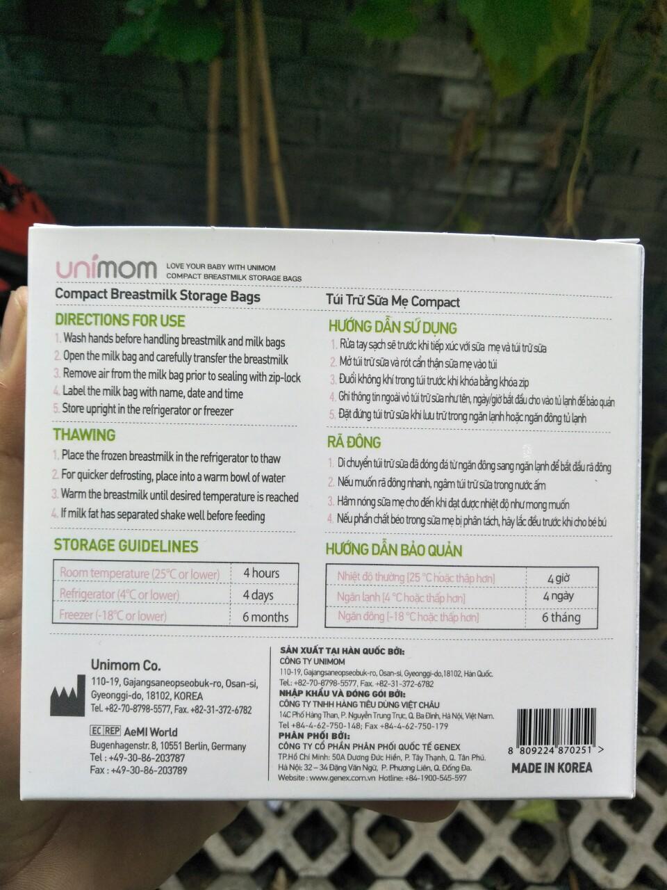 Hộp 10 túi trữ sữa mẹ 210ml Unimom Compact Hàn Quốc