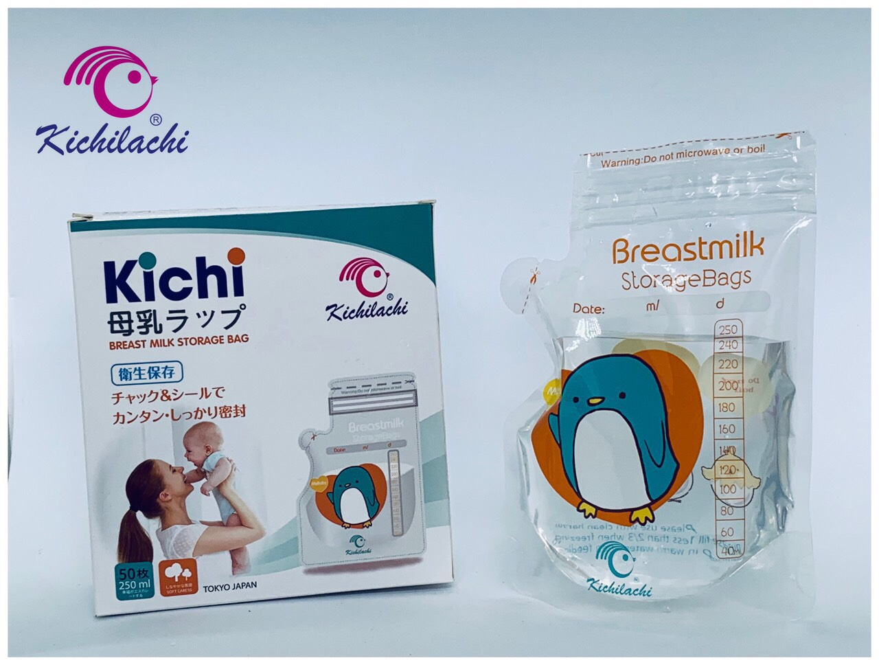 Hộp 50 túi trữ sữa mẹ 250ml KICHILACHI K50V - Japan Technology