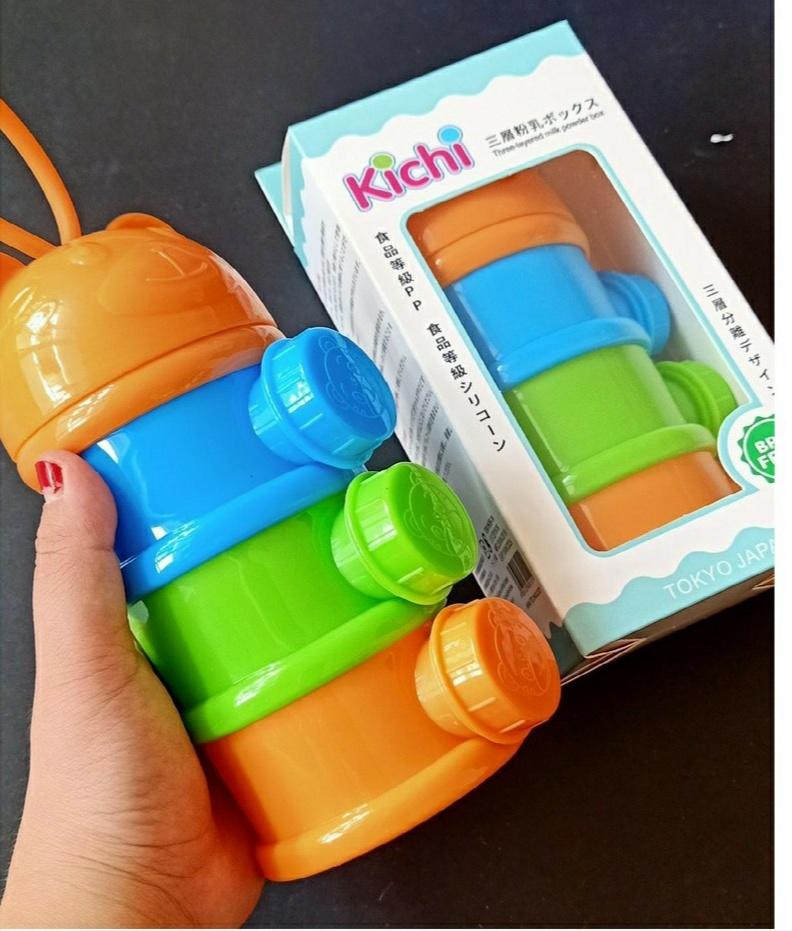 Hộp chia sữa bột 3 ngăn hình gấu Kichilachi cho bé - Nhật bản
