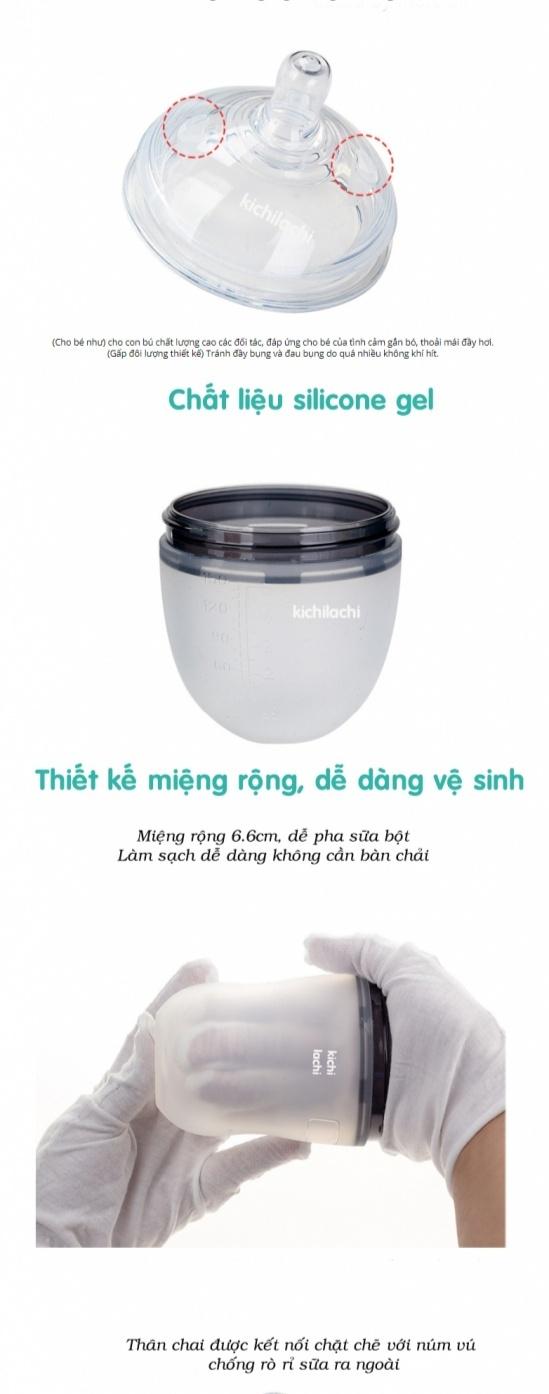 Bình sữa silicone siêu mềm KICHILACHI  - Nhật
