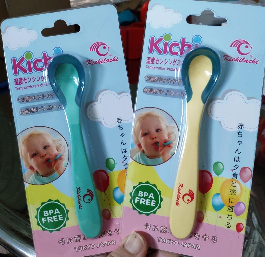 Thìa nhựa ăn dặm cảm ứng nhiệt an toàn miệng cho bé Kichilachi ( Nhật)
