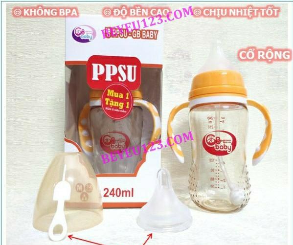Bình sữa CỔ RỘNG PPSU cao cấp 240ml GB BABY (Công nghệ Hàn Quốc)