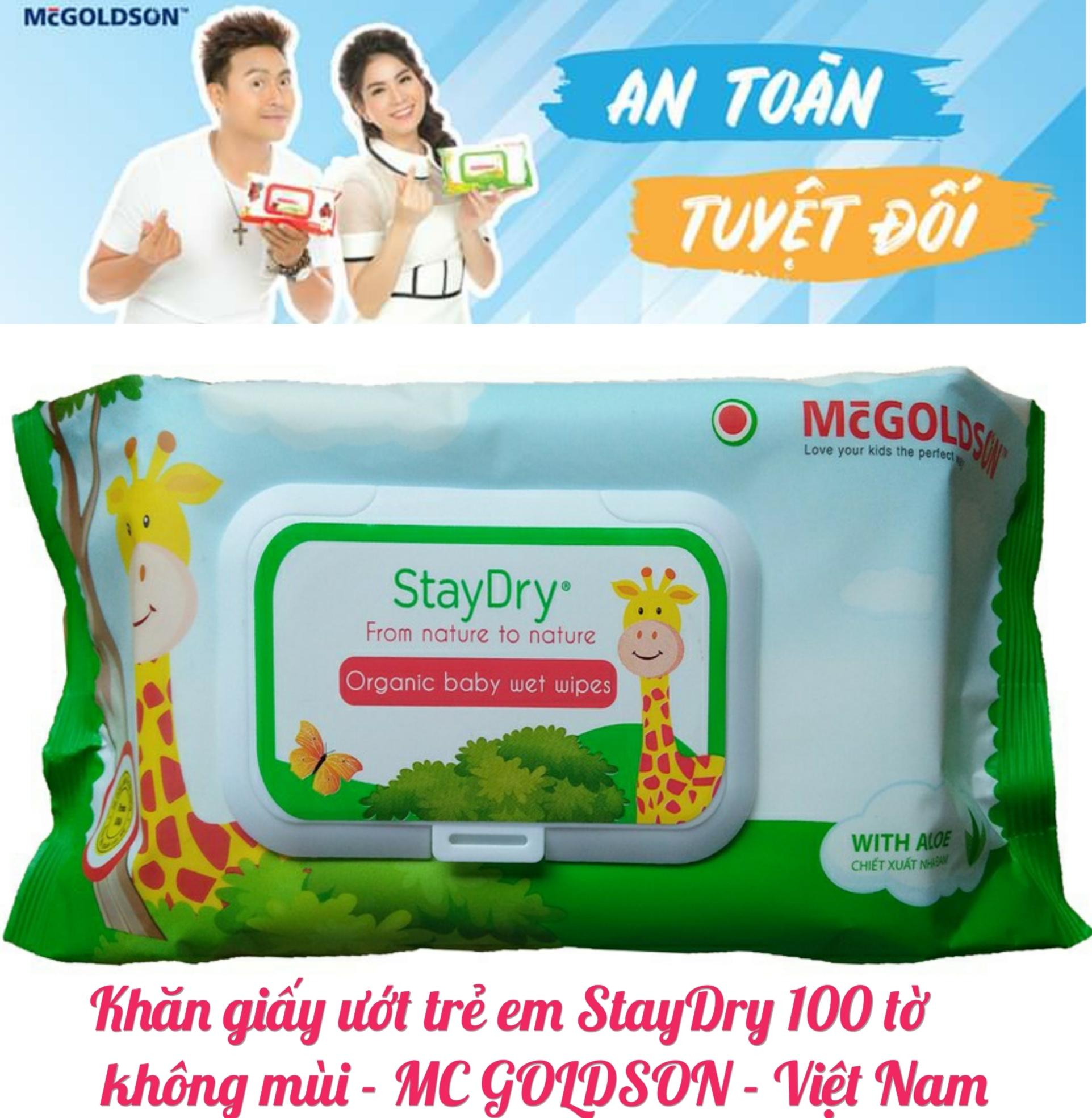 Khăn ướt trẻ em StayDry 100 tờ không hương - MC GOLDSON - Việt Nam