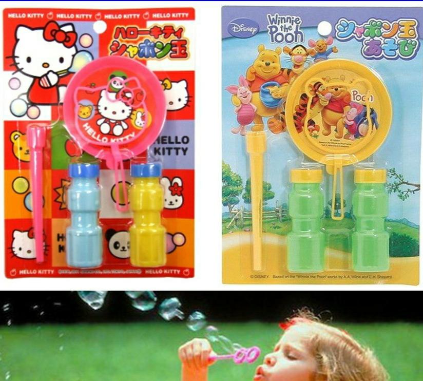 Bộ thổi bong bóng xà phòng Gấu Pooh / Mèo Kitty an toàn cho bé - Made in Japan - KBN 710013 / 125340