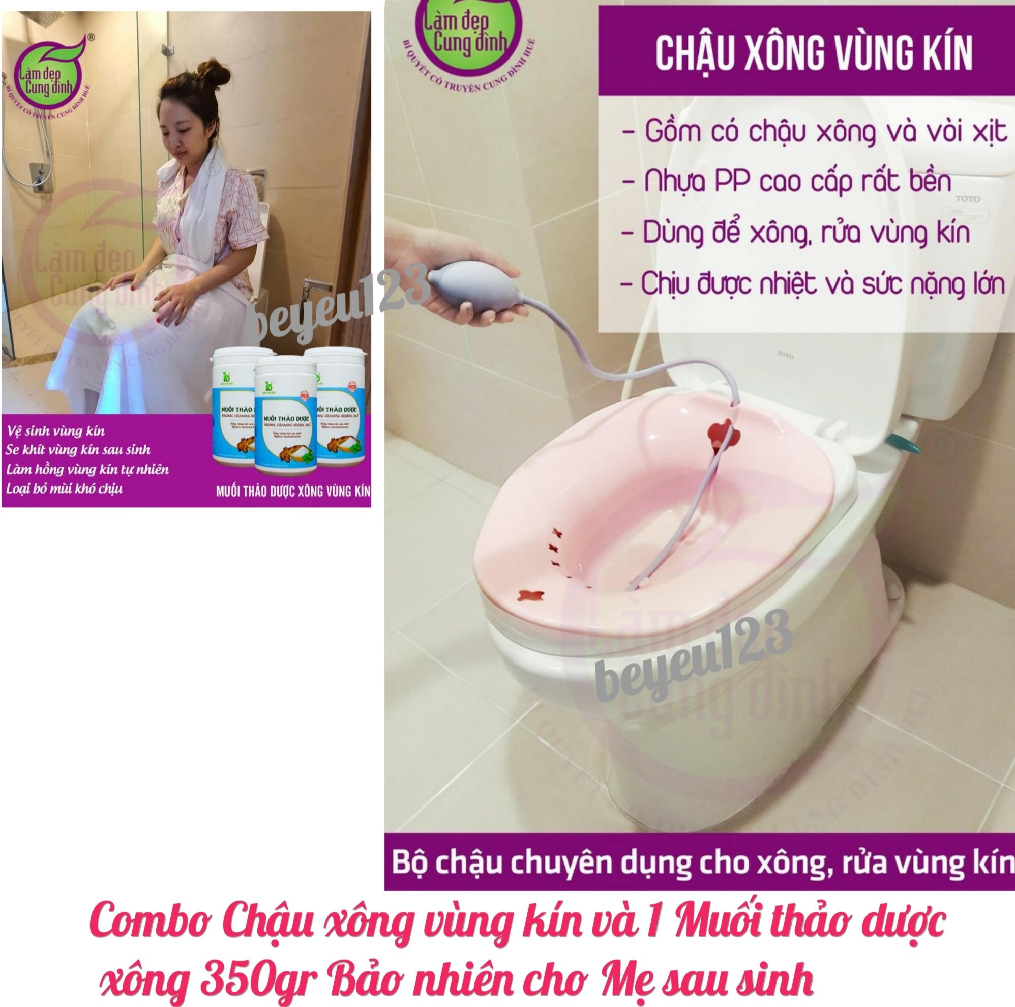 Combo Chậu xông vùng kín và 1 Muối thảo dược xông 350gr Bảo nhiên cho Mẹ sau sinh - Việt Nam