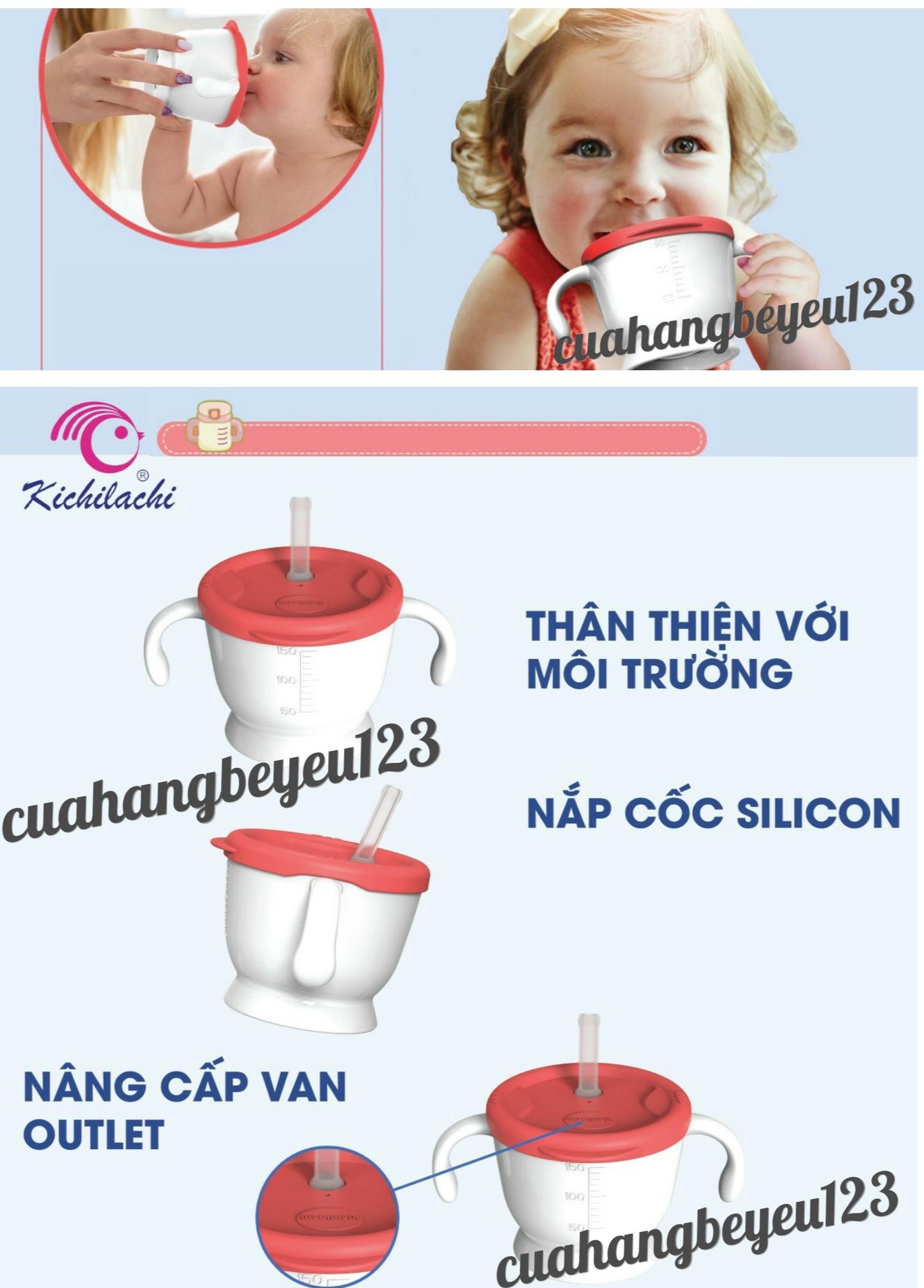 Cốc Tập uống nước , uống sữa 3 giai đoạn 150ml Kichilachi