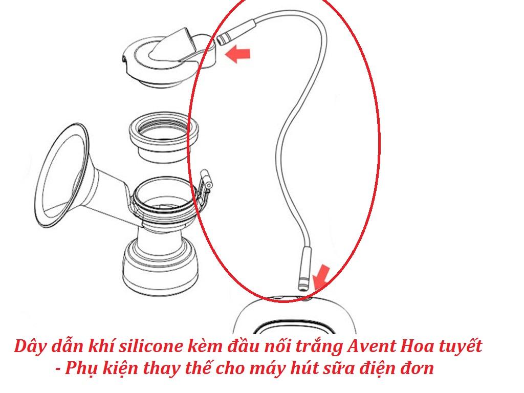 Dây dẫn khí silicone kèm đầu nối trắng Avent Hoa tuyết - Phụ kiện thay thế cho máy hút sữa điện đơn