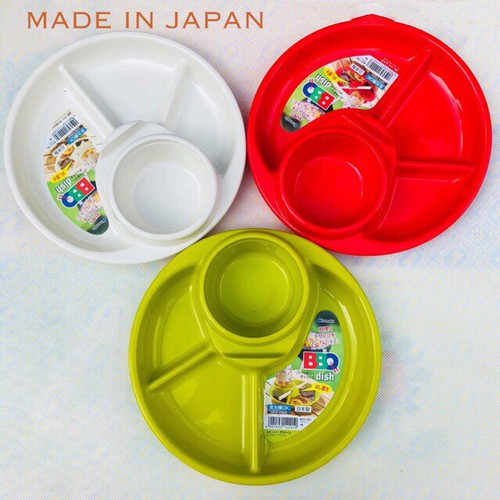 Khay ăn dặm tròn BLW 3 ngăn có khay để cốc , thìa nĩa Inomata - Made in Japan - KBN 142010 / 142027